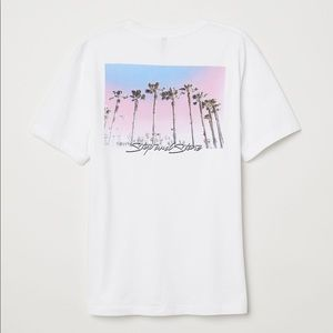 Stop and stare graphic palm tree printed shirt